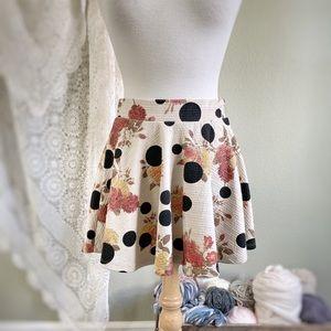 ZARA TRAFALUC   Floral Polka Dot Swing Mini Skirt